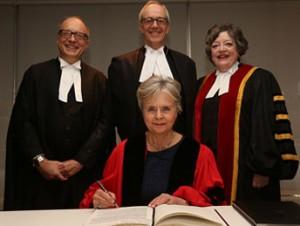 Law Society CEO Robert Lapper, Chief Justice George Strathy, Justice Karen Weiler, Treasurer Janet Minor